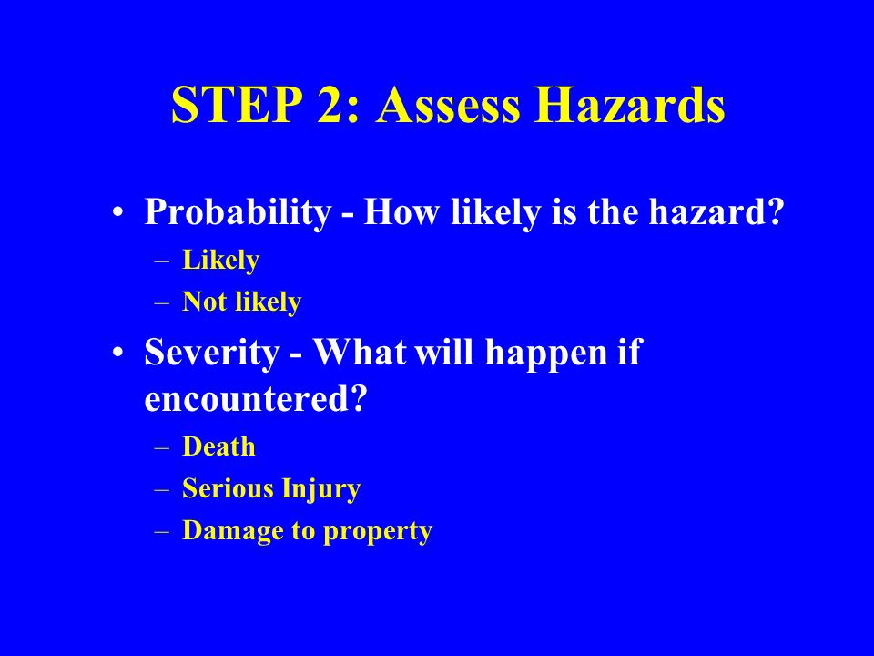 STEP 2: Assess Hazards Probability - How likely is the hazard
