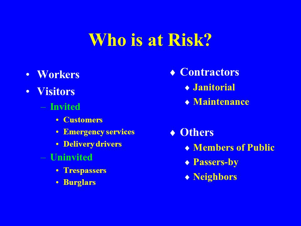 Who is at Risk Contractors Workers Visitors Others Janitorial