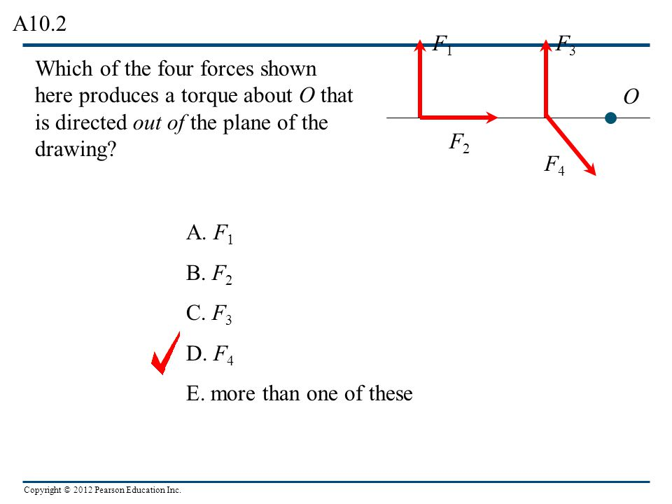 A10.2 F1. F3. Which of the four forces shown here produces a torque about O that is directed out of the plane of the drawing