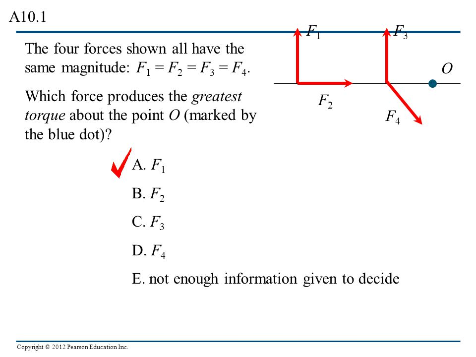 A10.1 F1. F3. The four forces shown all have the same magnitude: F1 = F2 = F3 = F4.