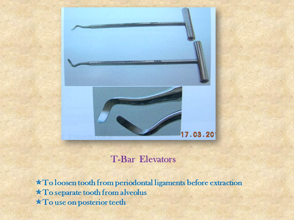 T-Bar Elevators To loosen tooth from periodontal ligaments before extraction. To separate tooth from alveolus.