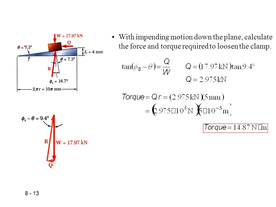 With impending motion down the plane, calculate the force and torque required to loosen the clamp.