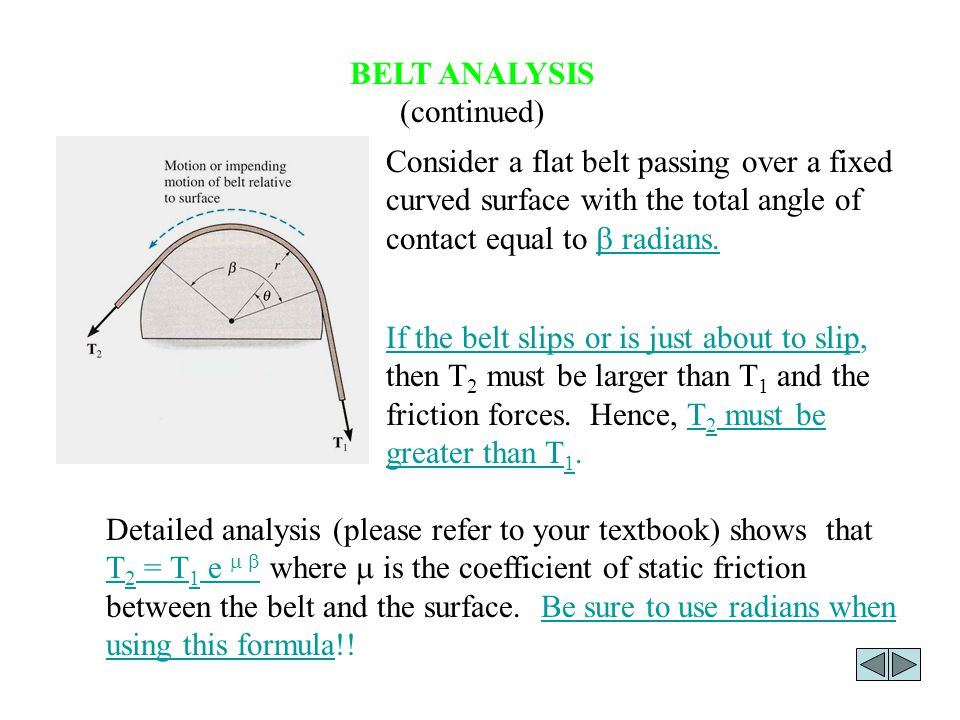 BELT ANALYSIS (continued)