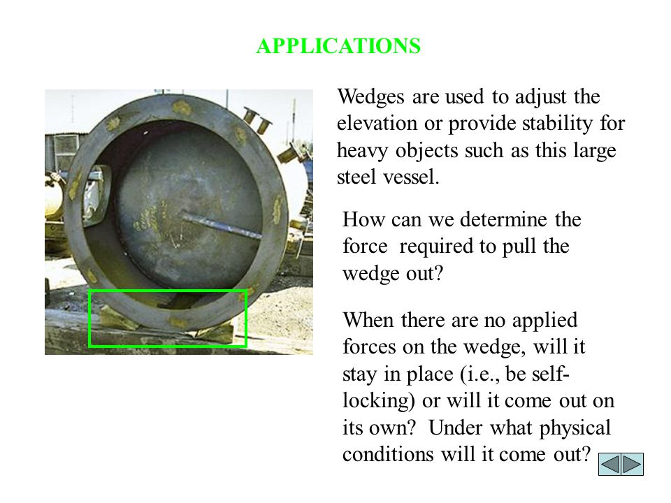 How can we determine the force required to pull the wedge out