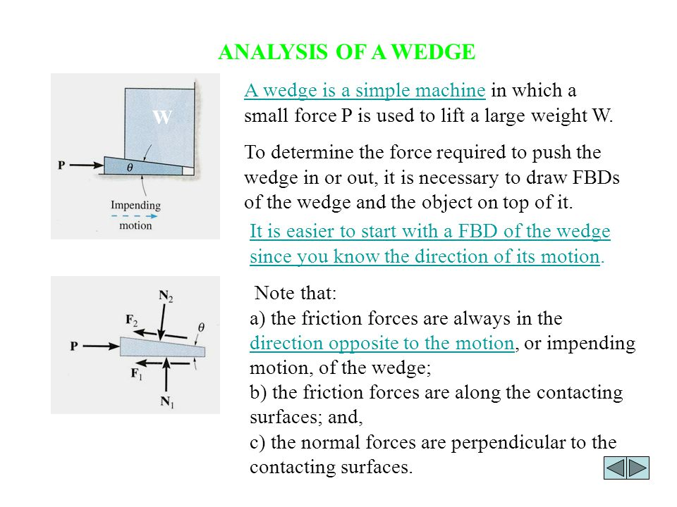 ANALYSIS OF A WEDGE A wedge is a simple machine in which a small force P is used to lift a large weight W.