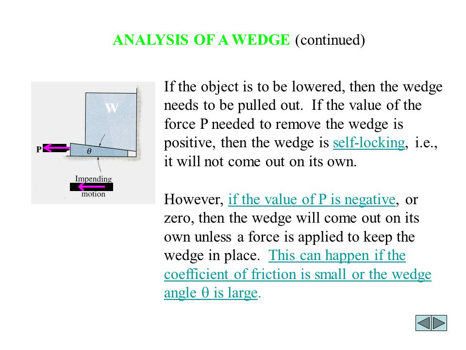 ANALYSIS OF A WEDGE (continued)