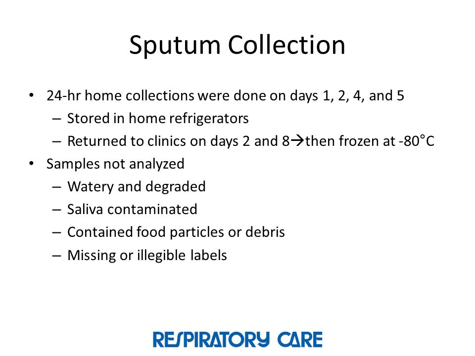 Sputum Collection 24-hr home collections were done on days 1, 2, 4, and 5. Stored in home refrigerators.