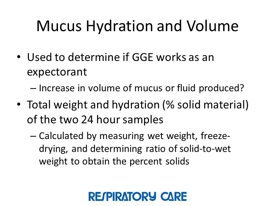Mucus Hydration and Volume