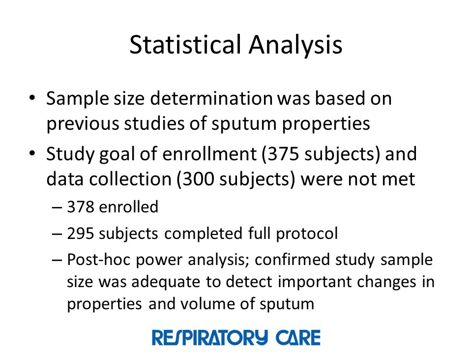 Statistical Analysis Sample size determination was based on previous studies of sputum properties.