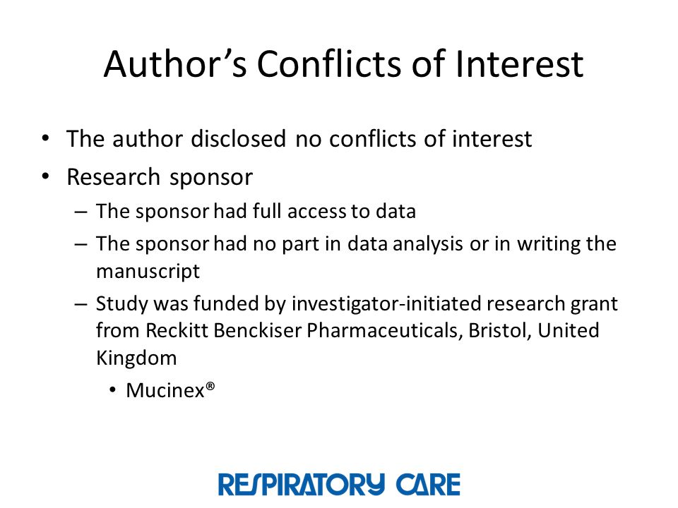 Author's Conflicts of Interest