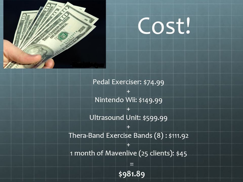 Cost! = $981.89 Pedal Exerciser: $74.99 + Nintendo Wii: $149.99