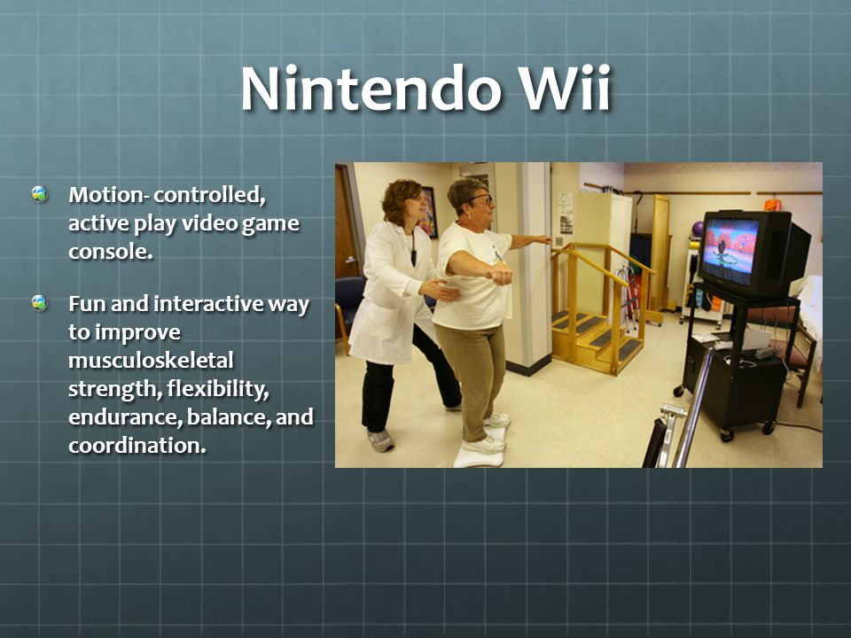 Nintendo Wii Motion- controlled, active play video game console.
