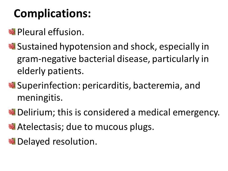 Complications: Pleural effusion.