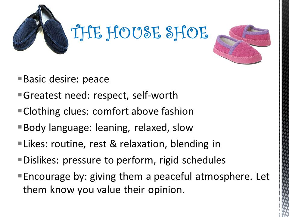 THE HOUSE SHOE Basic desire: peace Greatest need: respect, self-worth