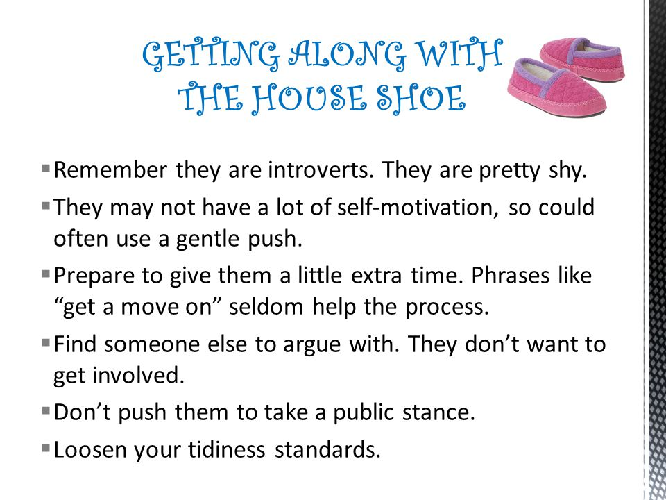 GETTING ALONG WITH THE HOUSE SHOE
