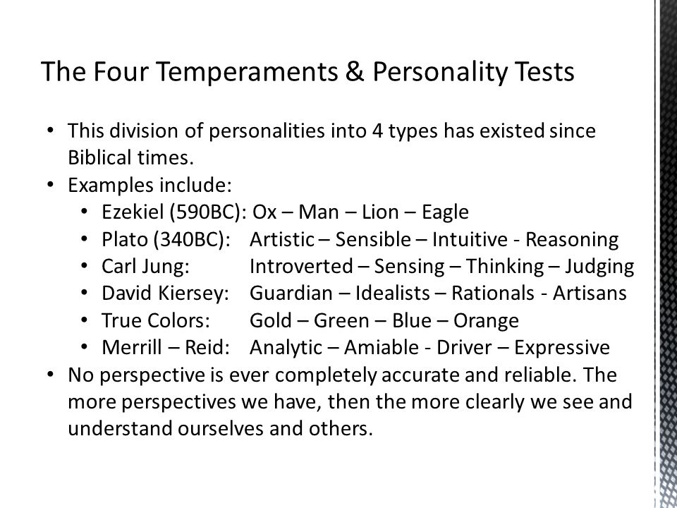 The Four Temperaments & Personality Tests
