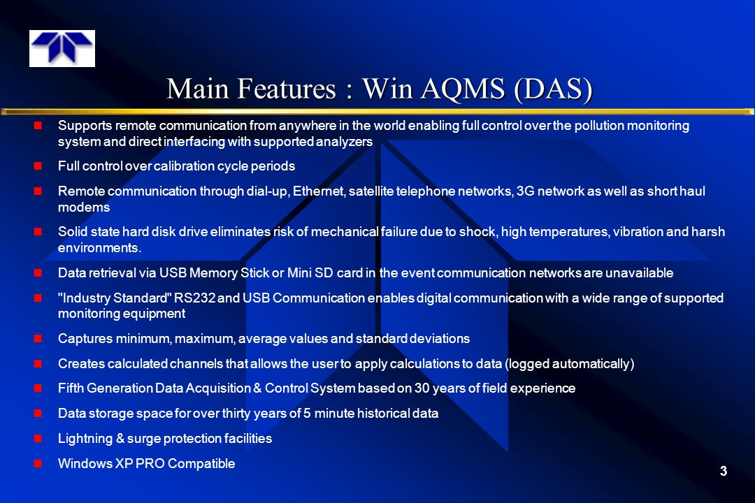 Main Features : Win AQMS (DAS)