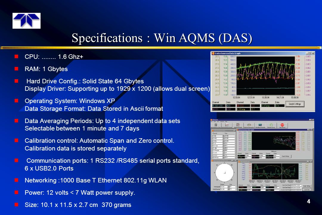 Specifications : Win AQMS (DAS)