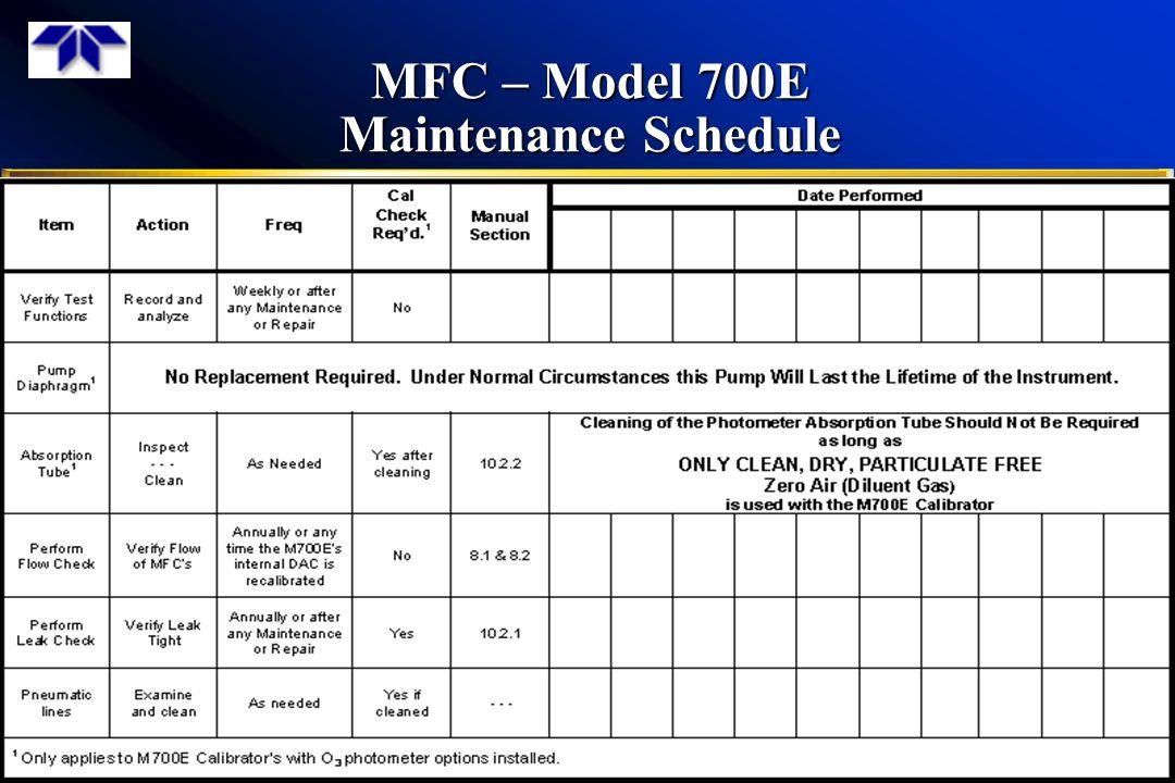 MFC – Model 700E Maintenance Schedule