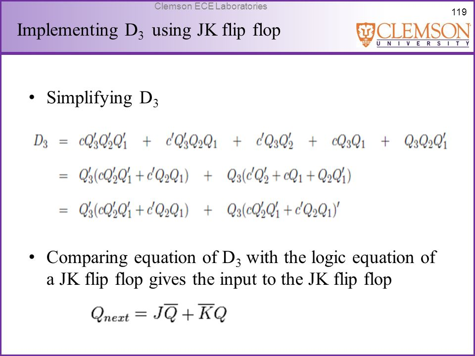 Implementing D3 using JK flip flop