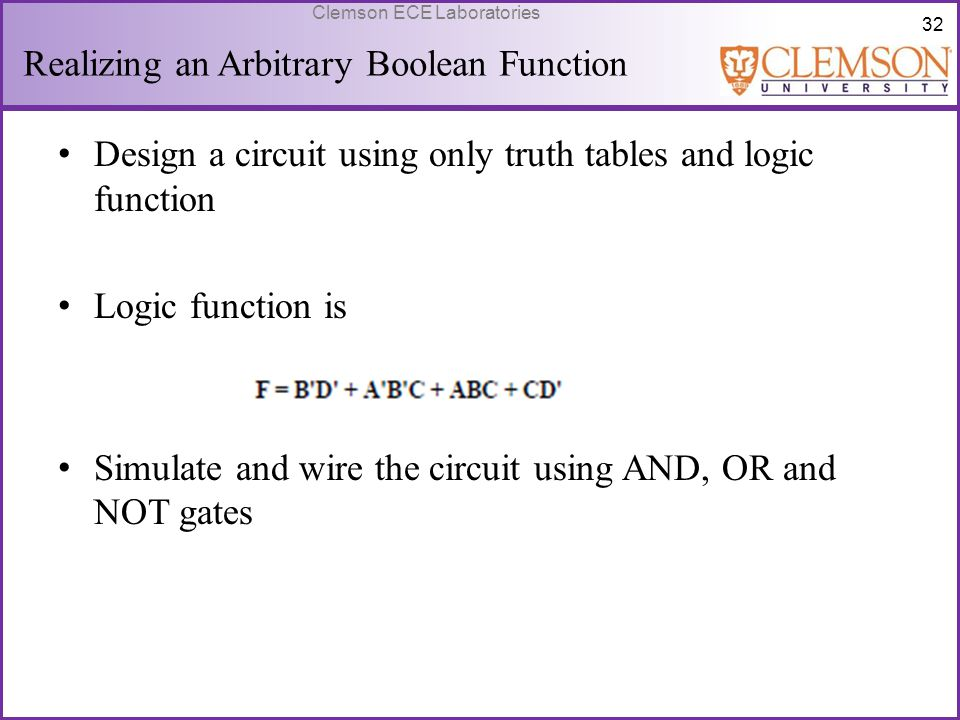 Realizing an Arbitrary Boolean Function