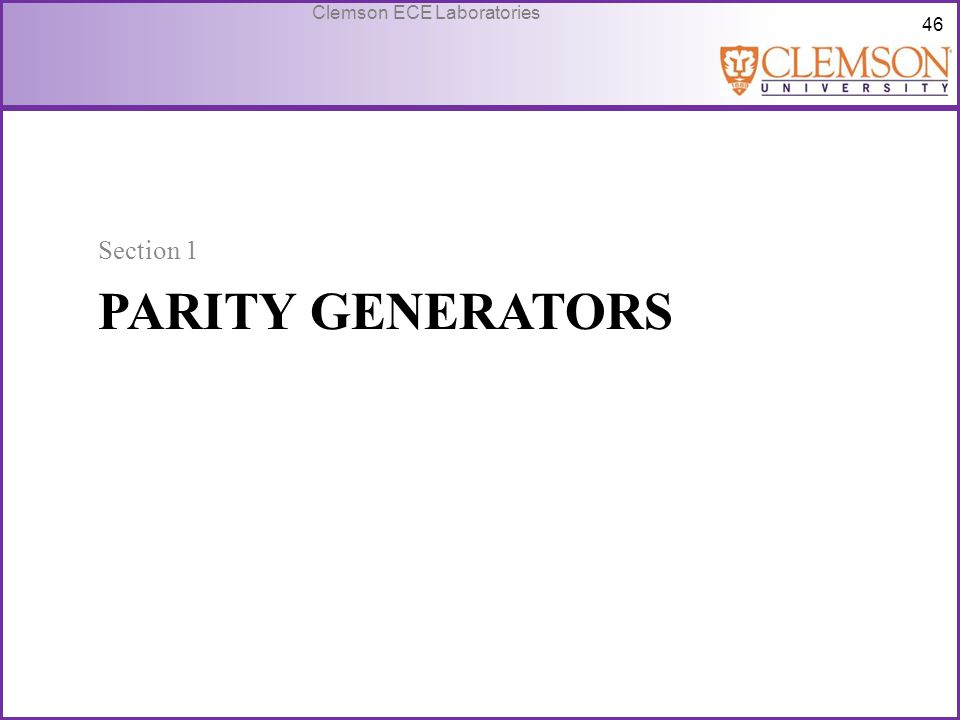 Section 1 Parity generators