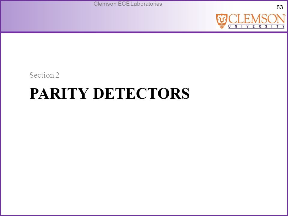 Section 2 Parity Detectors