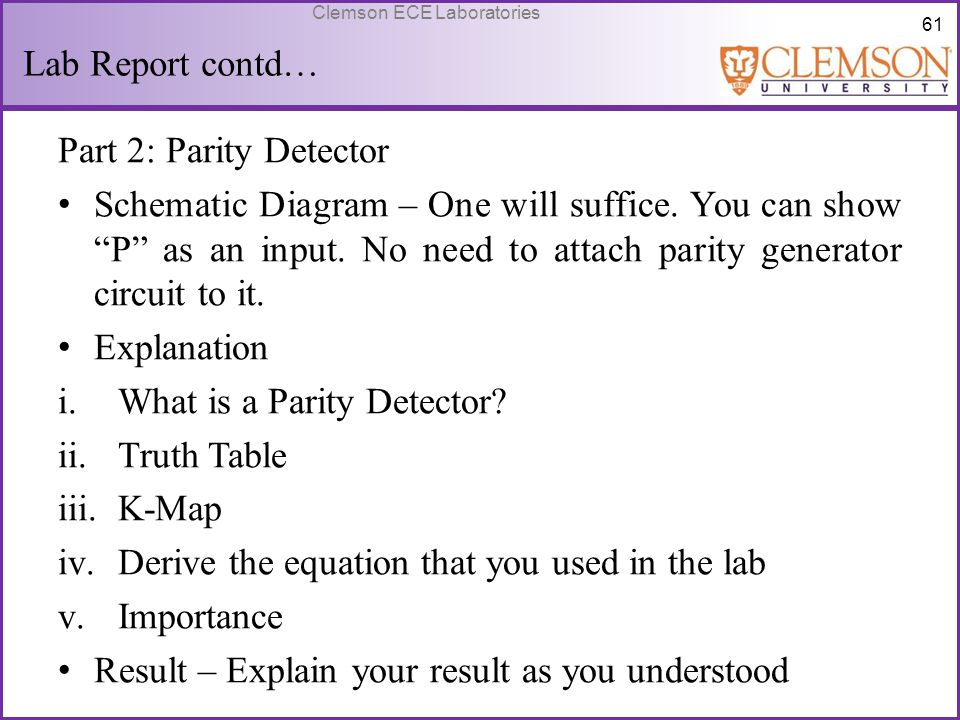 Lab Report contd… Part 2: Parity Detector.