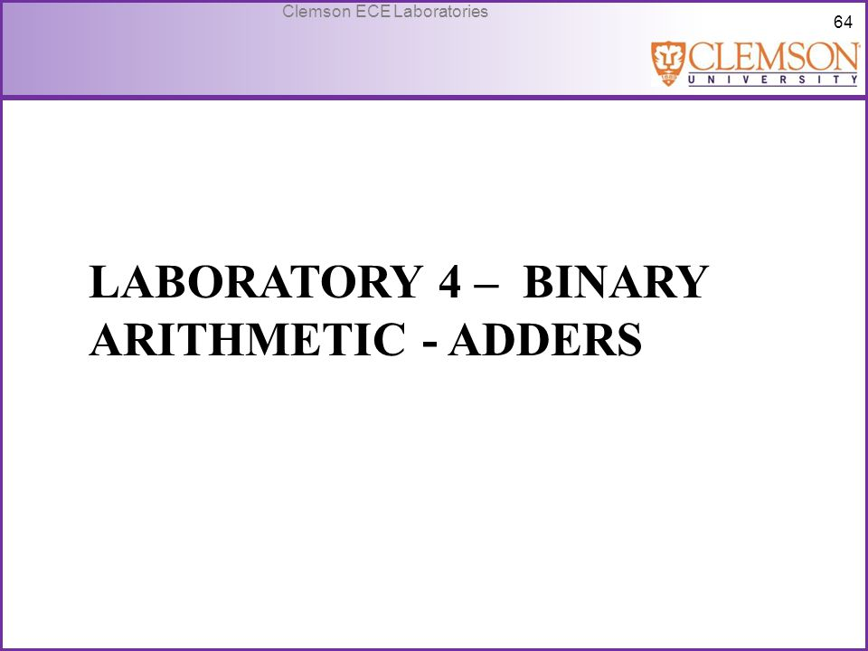 Laboratory 4 – Binary arithmetic - adders