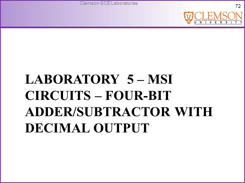 Laboratory 5 – MSI Circuits – Four-bit adder/subtractor with decimal output