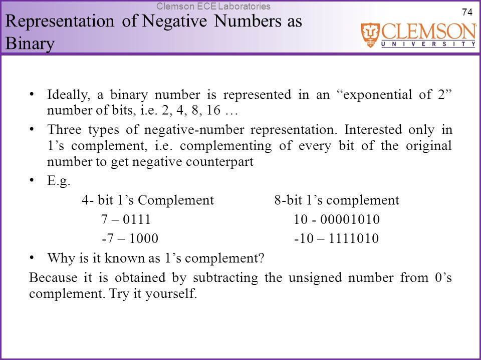 Representation of Negative Numbers as Binary