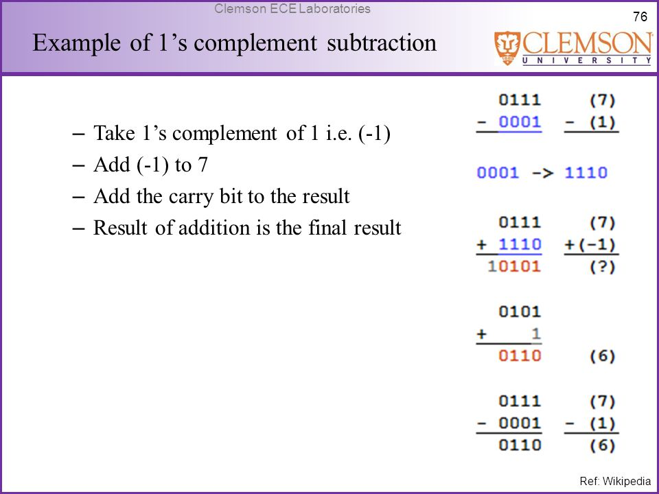 Example of 1's complement subtraction