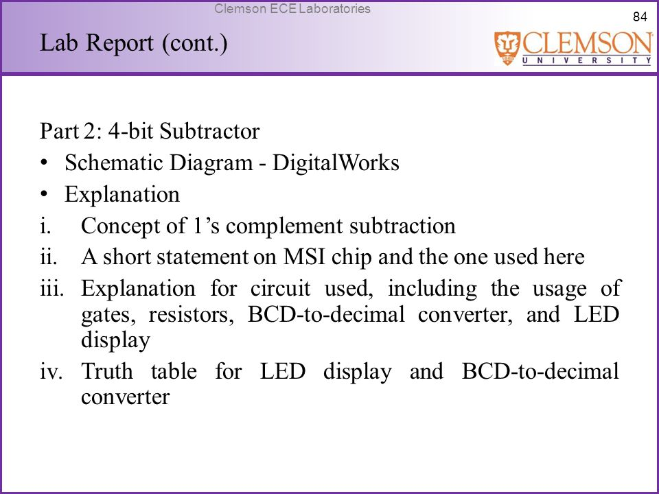 Lab Report (cont.) Part 2: 4-bit Subtractor