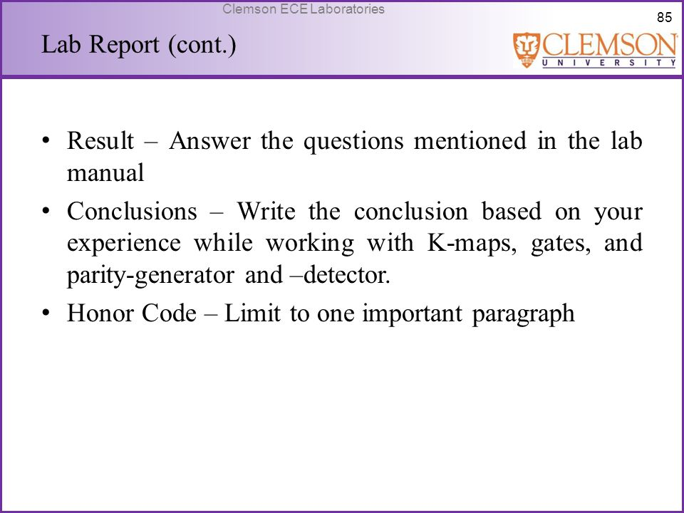 Lab Report (cont.) Result – Answer the questions mentioned in the lab manual.