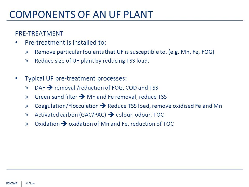 Components of an UF plant