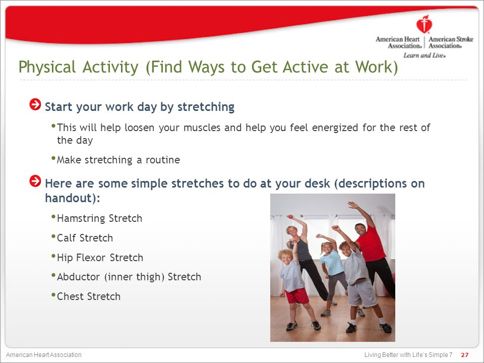 Physical Activity (Find Ways to Get Active at Work)