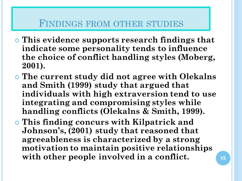 Findings from other studies