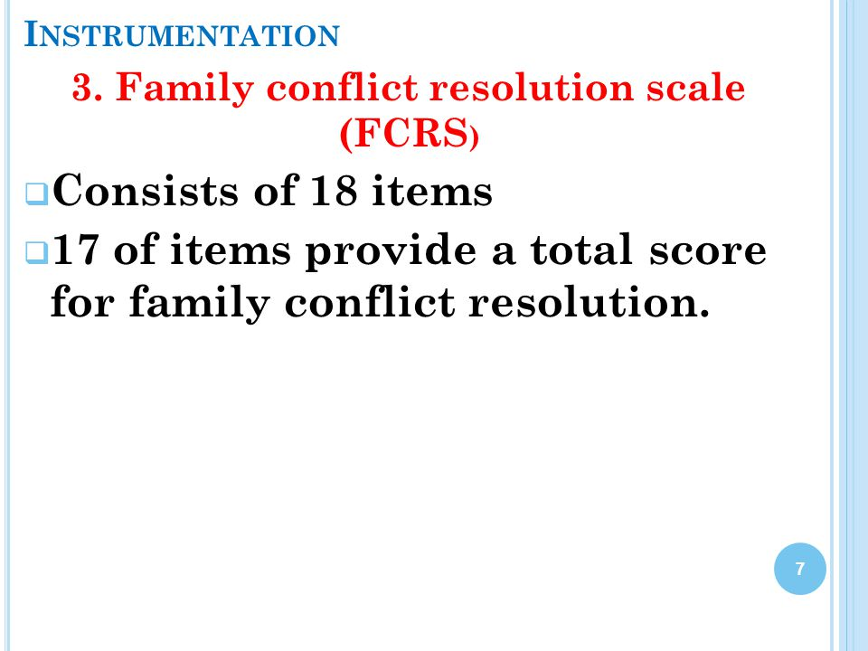 3. Family conflict resolution scale (FCRS)