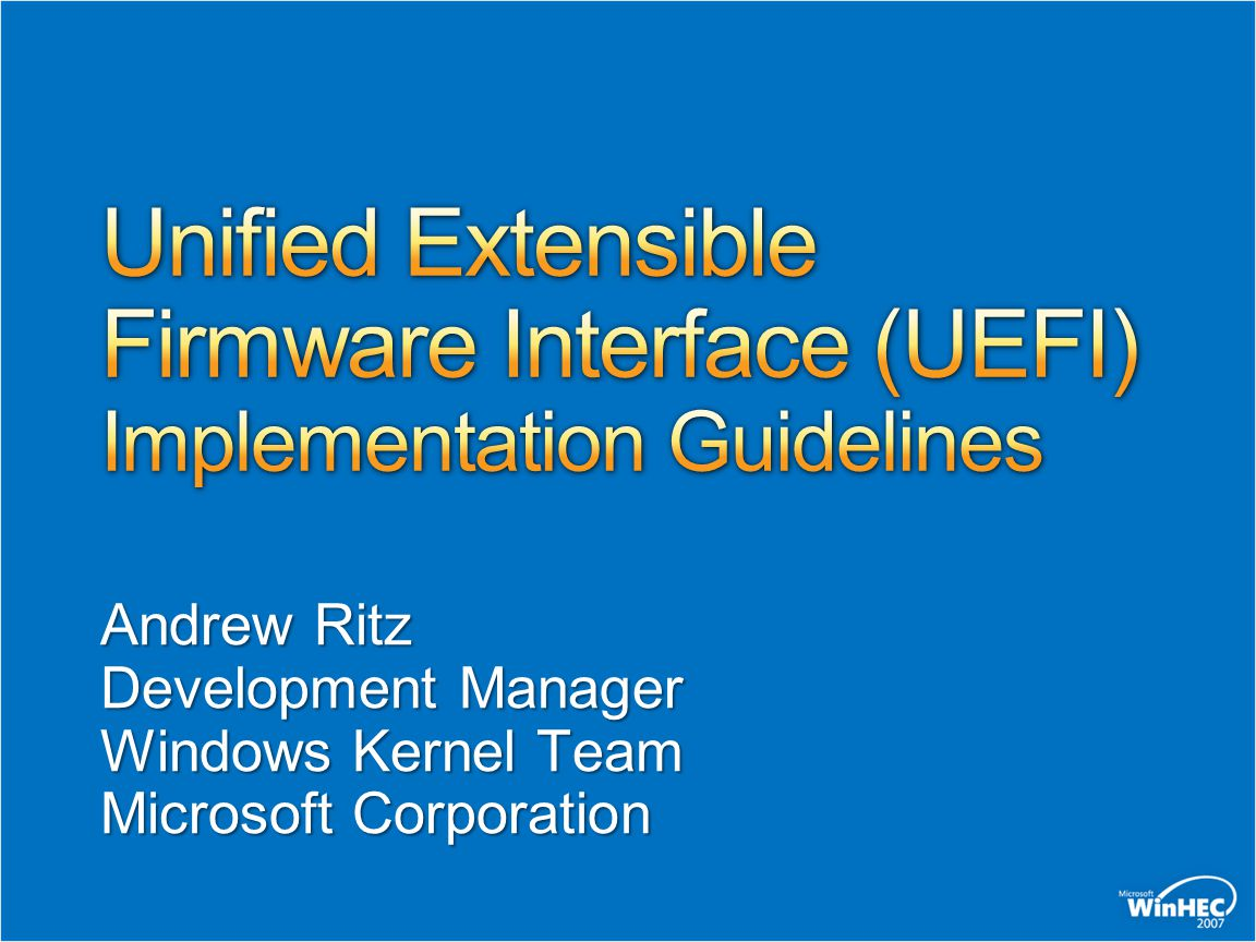 Unified Extensible Firmware Interface (UEFI) Implementation Guidelines