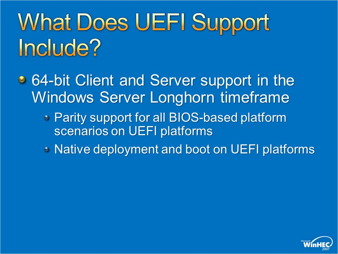 What Does UEFI Support Include