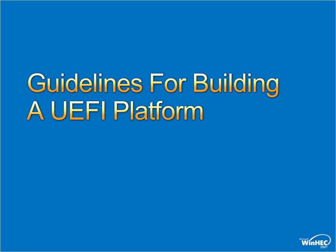Guidelines For Building A UEFI Platform