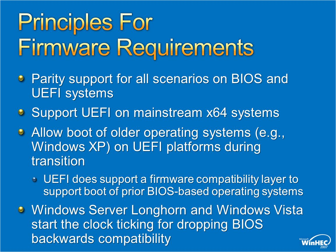 Principles For Firmware Requirements