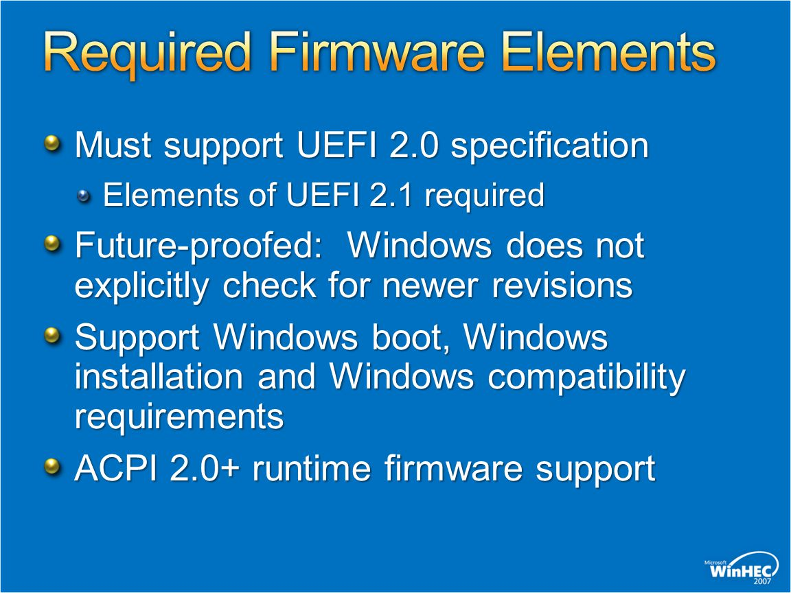 Required Firmware Elements