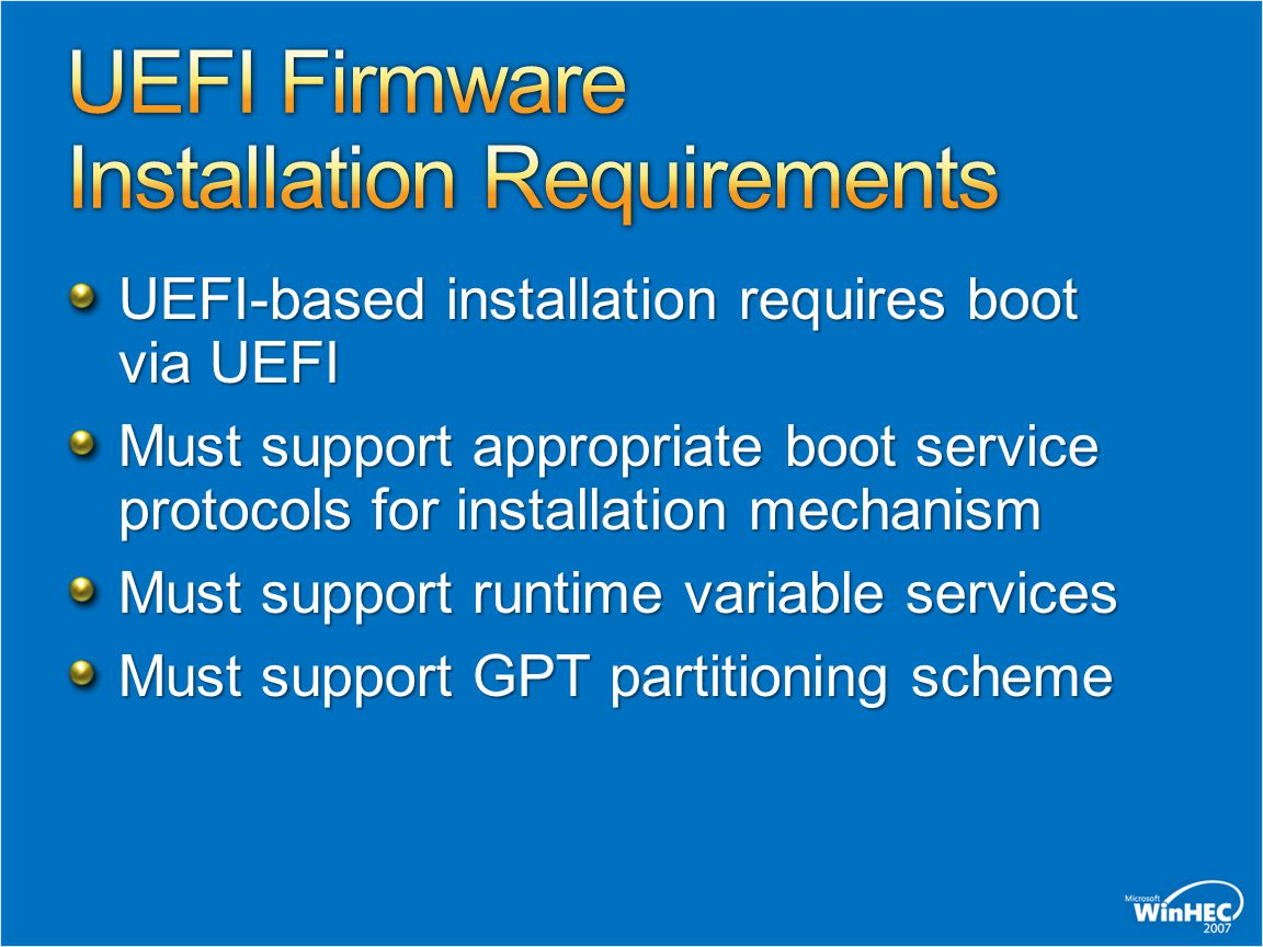 UEFI Firmware Installation Requirements