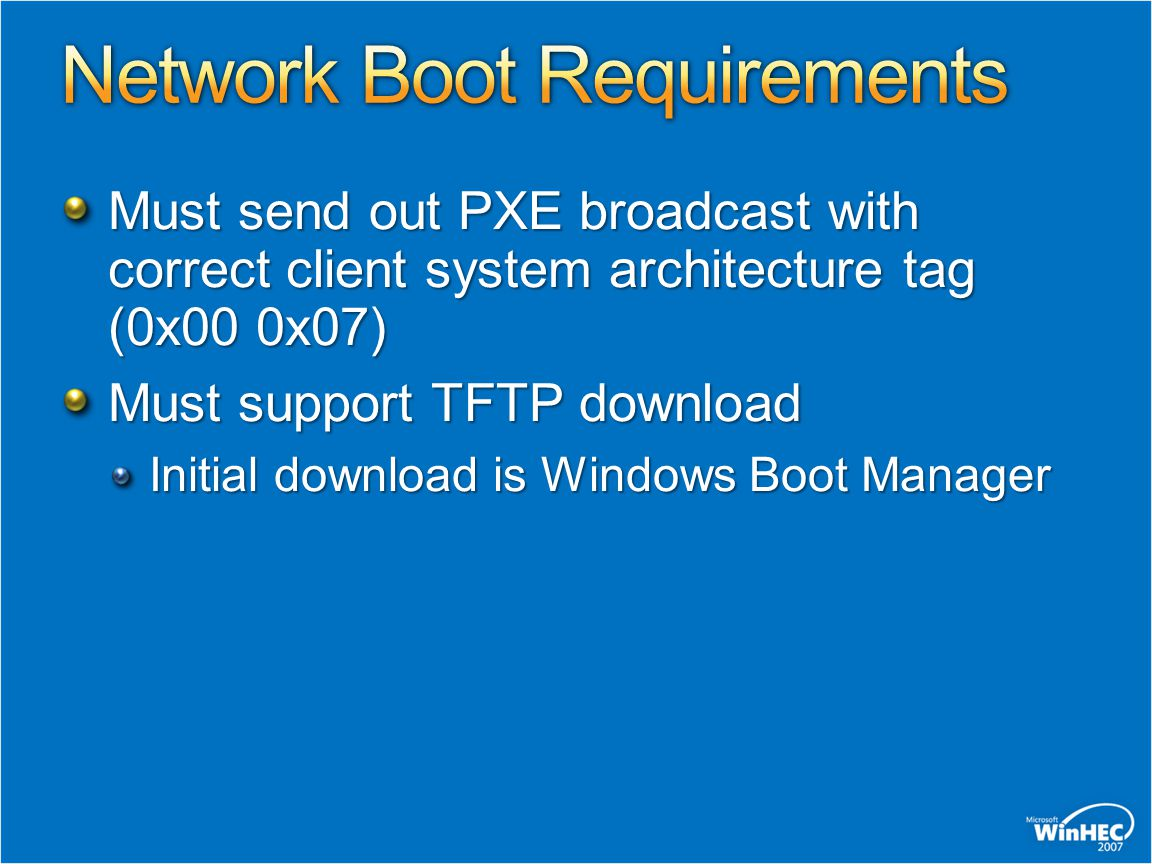 Network Boot Requirements