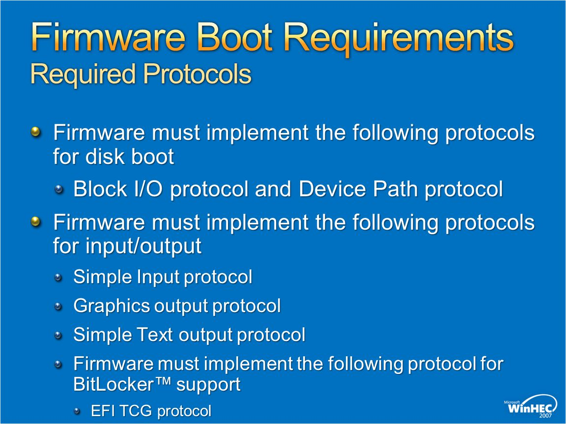 Firmware Boot Requirements Required Protocols