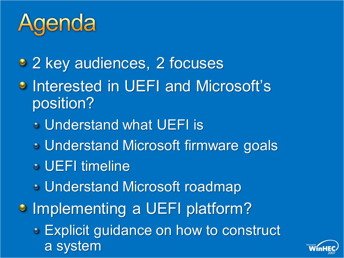 Agenda 2 key audiences, 2 focuses