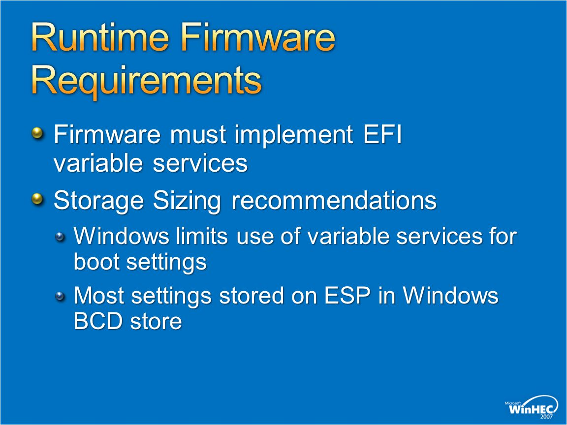 Runtime Firmware Requirements