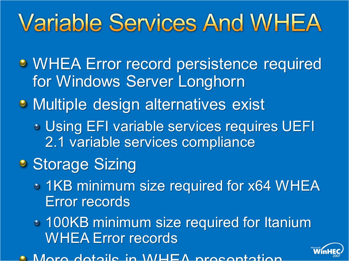 Variable Services And WHEA
