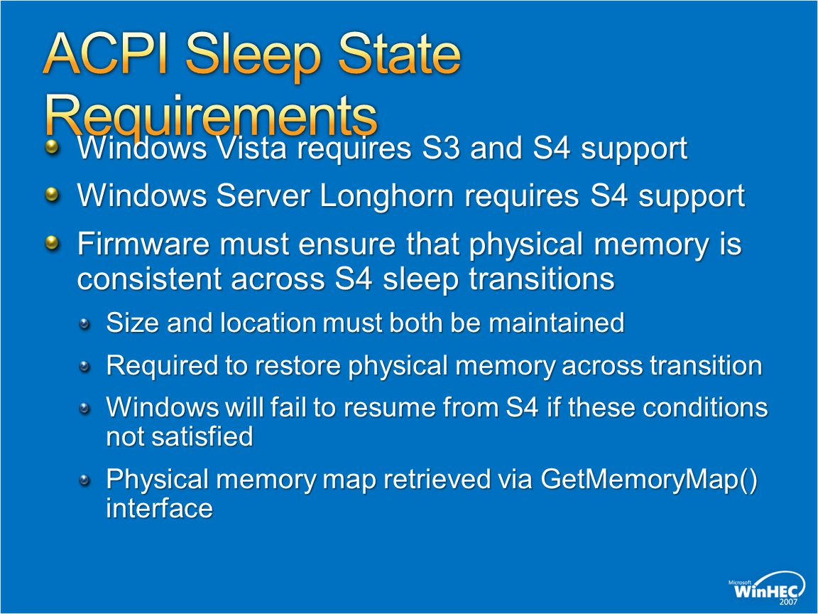 ACPI Sleep State Requirements
